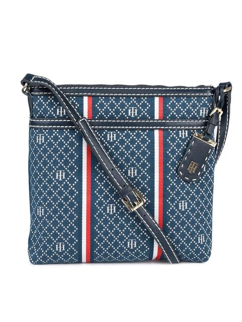Tommy Hilfiger Blue Self Design Sling Bag