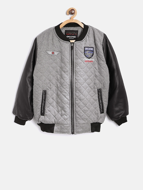 Okane Boys Grey & Black Solid Quilted Bomber Jacket