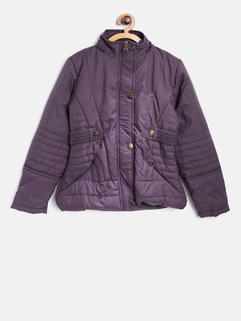 Okane Girls Purple Solid Hooded Padded Jacket