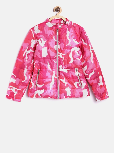 Okane Girls Pink Camouflage Print Padded Jacket