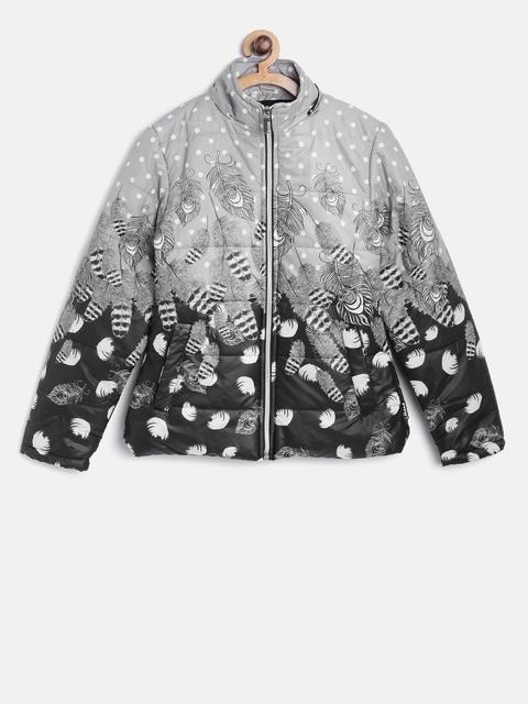 Okane Girls Grey & Black Hooded Printed Padded Jacket