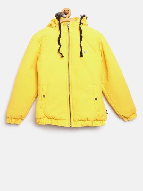 Okane Girls Yellow Solid Parka Jacket with Detachable Hood