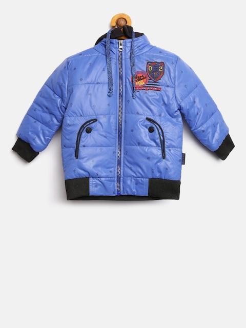 Okane Boys Blue Printed Bomber Jacket with Detachable Hood