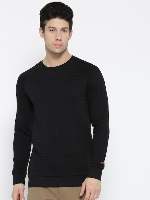 Being Human Men Black Solid Quilted Sweatshirt