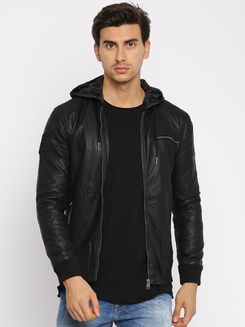 Being Human Men Black Solid Bomber Jacket
