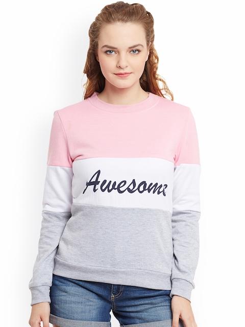 THE SILHOUETTE STORE Women Pink & Grey Colourblocked Sweatshirt