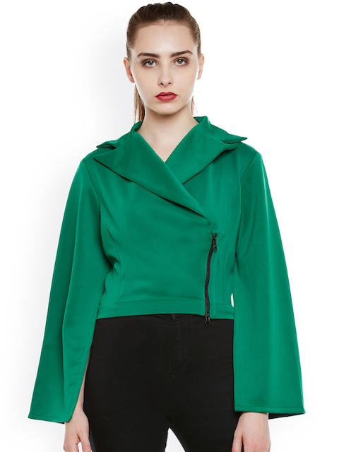 THE SILHOUETTE STORE Women Green Solid Wrap Jacket