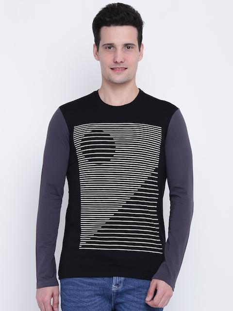 United Colors of Benetton Men Black Printed Round Neck T-shirt