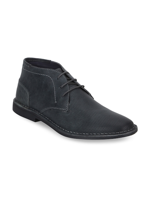Red Tape Men Navy Blue Leather Chukka Boots