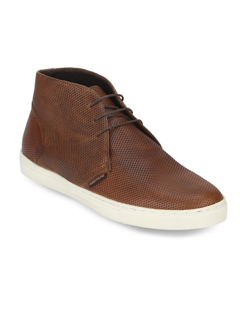 Red Tape Men Tan Solid Leather Mid-Top Desert Boots