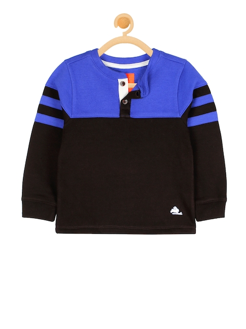 Cherry Crumble Boys Brown & Blue Colourblocked Sweatshirt