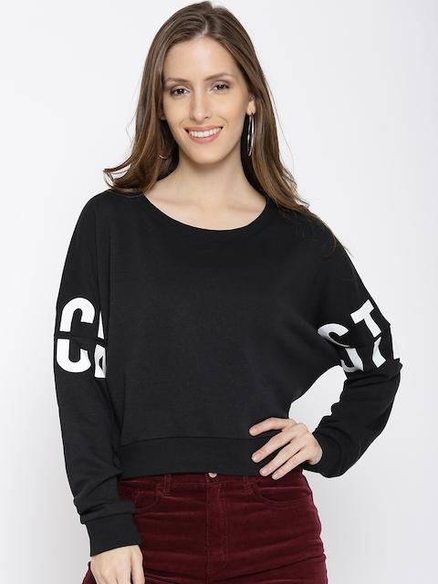 ONLY Women Black Solid Sweatshirt
