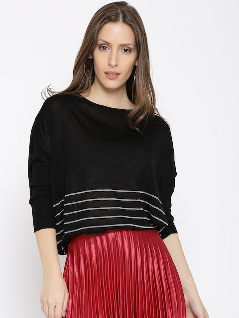 ONLY Women Black Striped Sweater