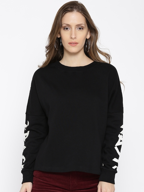 ONLY Women Black Solid Sweatshirt