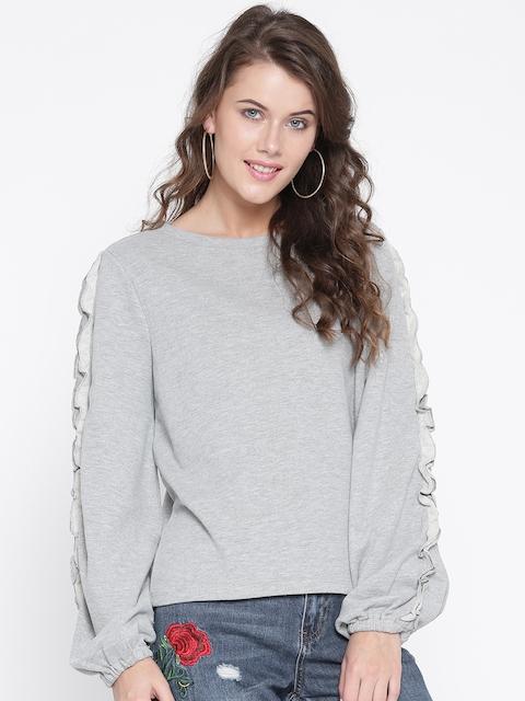ONLY Women Grey Melange Solid Sweatshirt