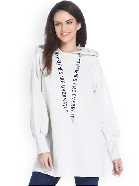 ONLY Women Off-White Solid Hooded Sweatshirt