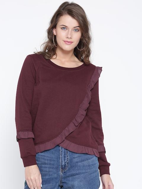 ONLY Women Burgundy Ruffled Sweatshirt