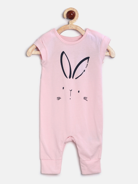 mothercare Girls Pink Printed Rompers