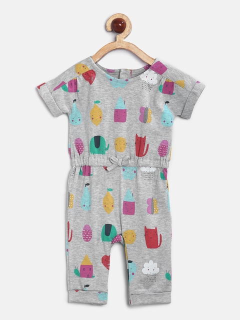 mothercare Girls Grey Printed Rompers