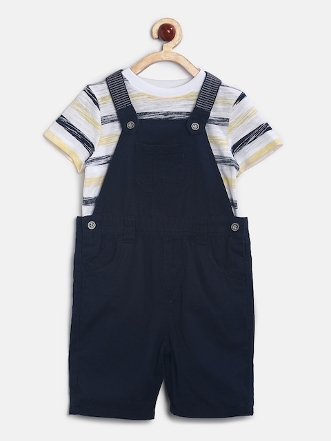 mothercare Boys Navy Dungarees with T-shirt