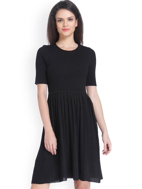 ONLY Women Black Solid Fit & Flare Dress