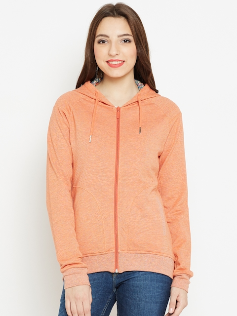 Monte Carlo Women Orange Solid Hooded Sweatshirt