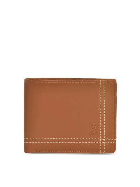 Second SKIN Men Tan Solid Two Fold Wallet