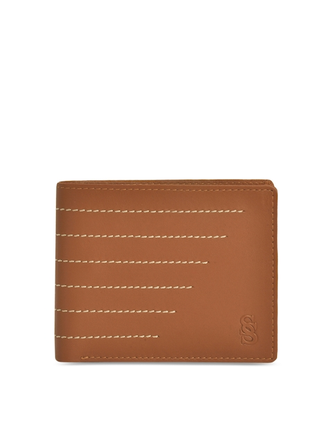 Second SKIN Men Tan Solid Two Fold Wallet