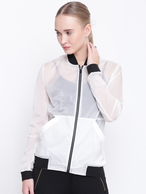 Fort Collins Women White Solid Semi-Sheer Lightweight Bomber Jacket
