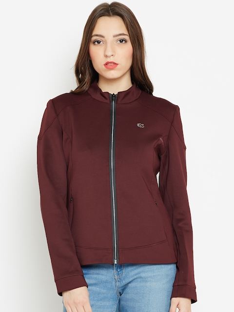 Fort Collins Women Burgundy Solid Tailored Jacket