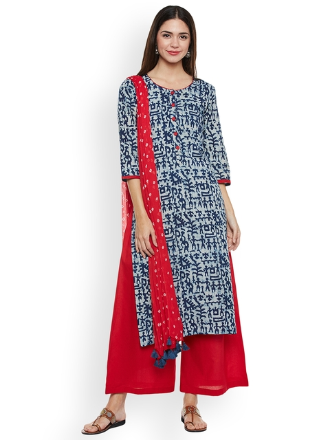 pinkshink Blue & Red Pure Cotton Unstitched Dress Material
