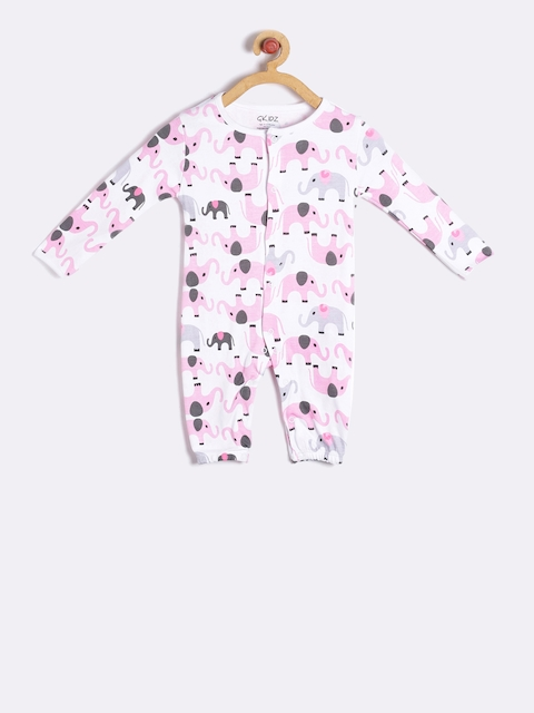 GKIDZ Girls White & Pink Printed Rompers