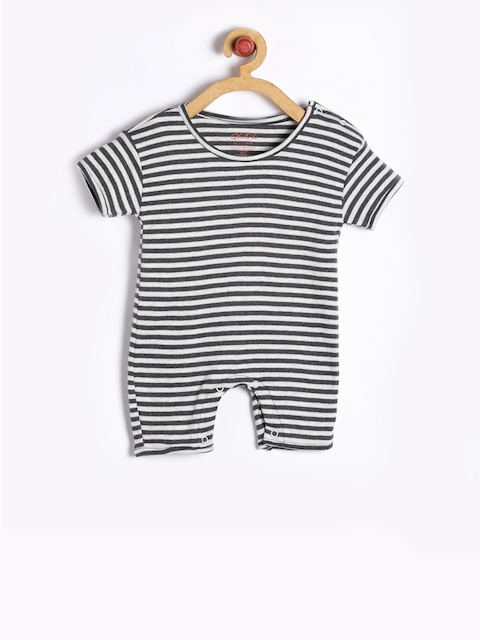 GKIDZ Girls Charcoal Grey Striped Rompers