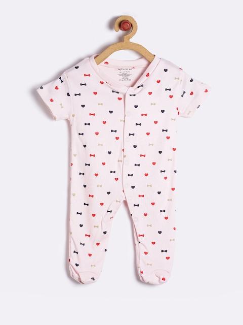 GKIDZ Unisex Pink Printed Sleepsuit