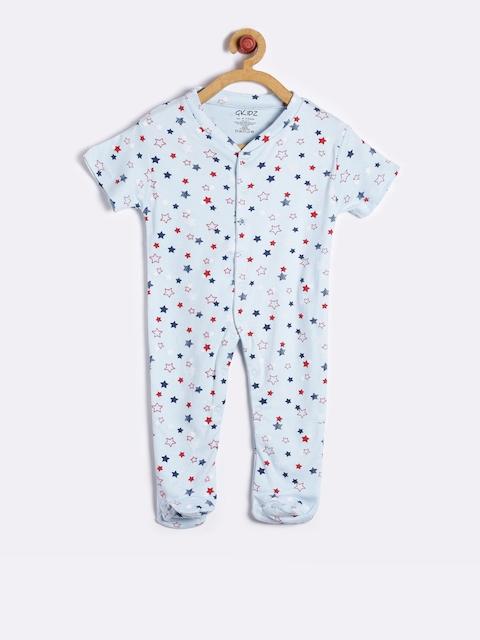 GKIDZ Unisex Blue Printed Sleepsuit