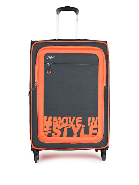 Skybags Unisex Charcoal Grey & Orange Printed Large 4W Trolley Bag