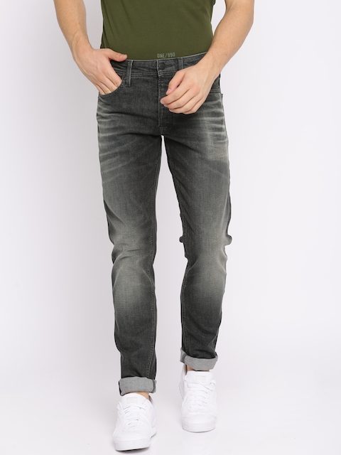 Jack & Jones Men Black Mike Comfort Fit Mid-Rise Clean Look Stretchable Jeans