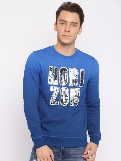 Jack & Jones Men Blue Printed Sweatshirt