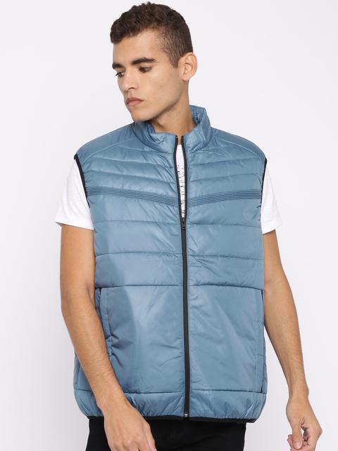 Jack & Jones Men Blue Solid Puffer Jacket