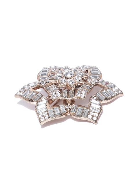 Accessorize Antique Gold-Toned & Silver-Toned Stone-Studded Floral Brooch