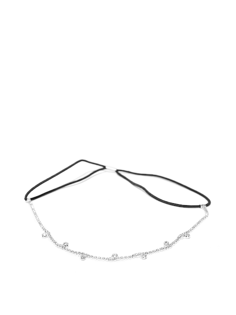 Accessorize Black & Silver-Toned Stone-Studded Hairband