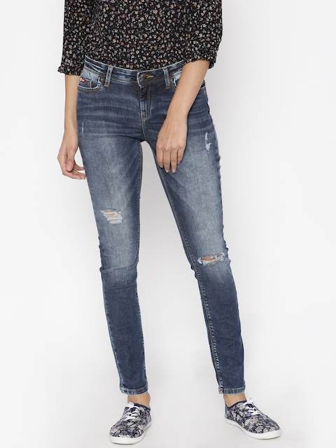 Lee Cooper Women Blue Slim Fit Mid-Rise Mildly Distressed Stretchable Jeans