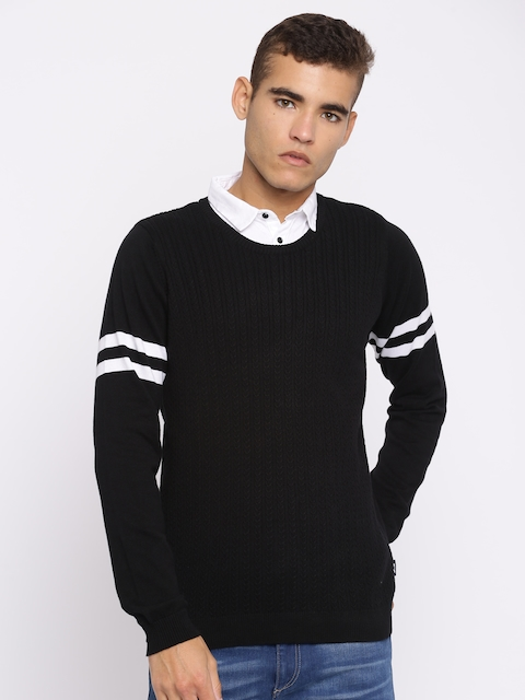 Jack & Jones Men Black Striped Pullover Sweater