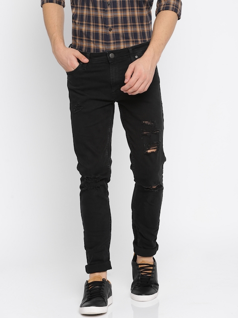 Jack & Jones Men Black Skinny Fit Low-Rise Highly Distressed Stretchable Jeans