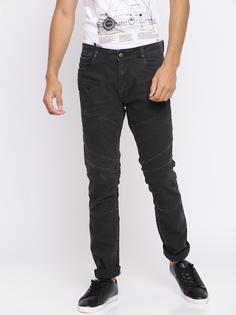 Jack & Jones Men Black Tim Slim Fit Low-Rise Clean Look Stretchable Jeans