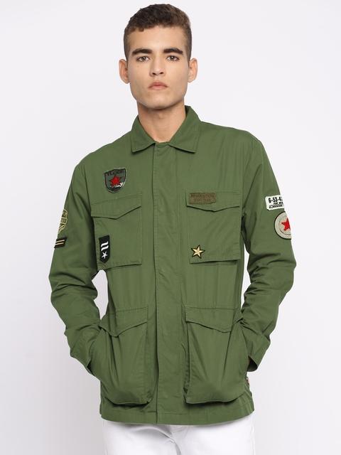 Jack & Jones Men Olive Green Solid Tailored Jacket