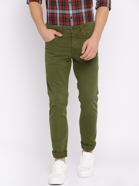 Jack & Jones Men Olive Green Slim Fit Solid Chinos