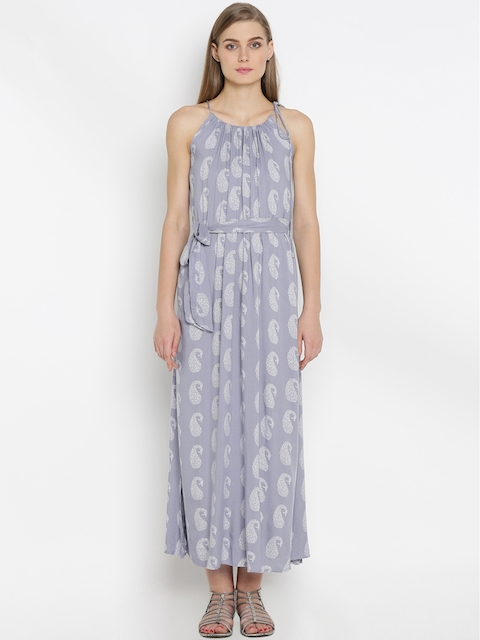 Mineral Women Blue Printed Maxi Dress  available at myntra for Rs.1999