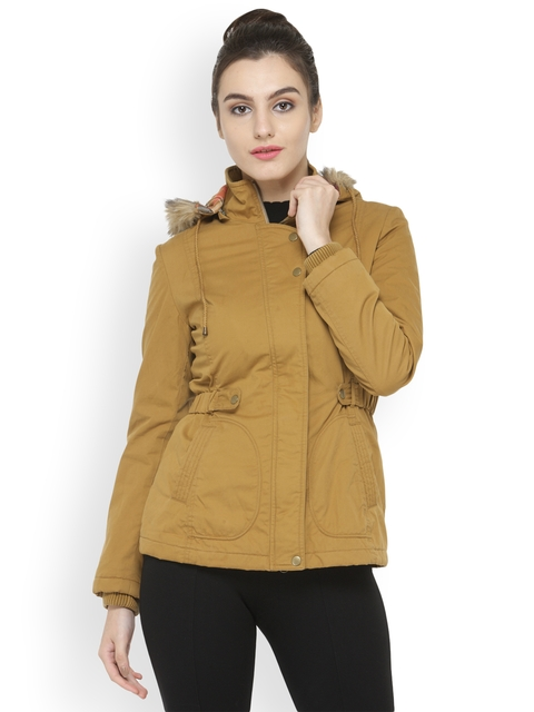 Gipsy Women Mustard Yellow Solid Parka