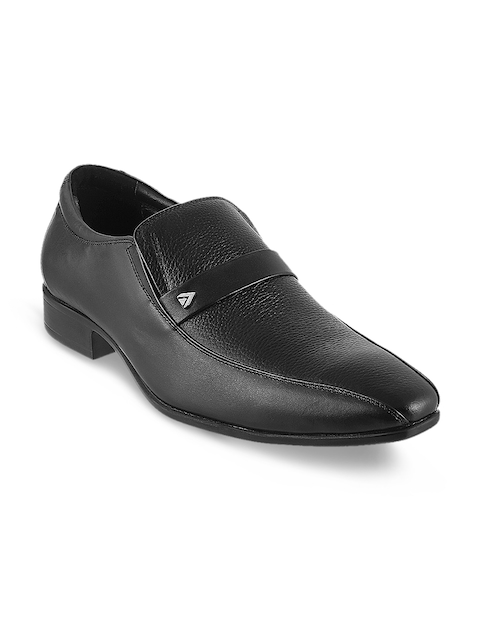 Metro Men Black Leather Semiformal Shoes